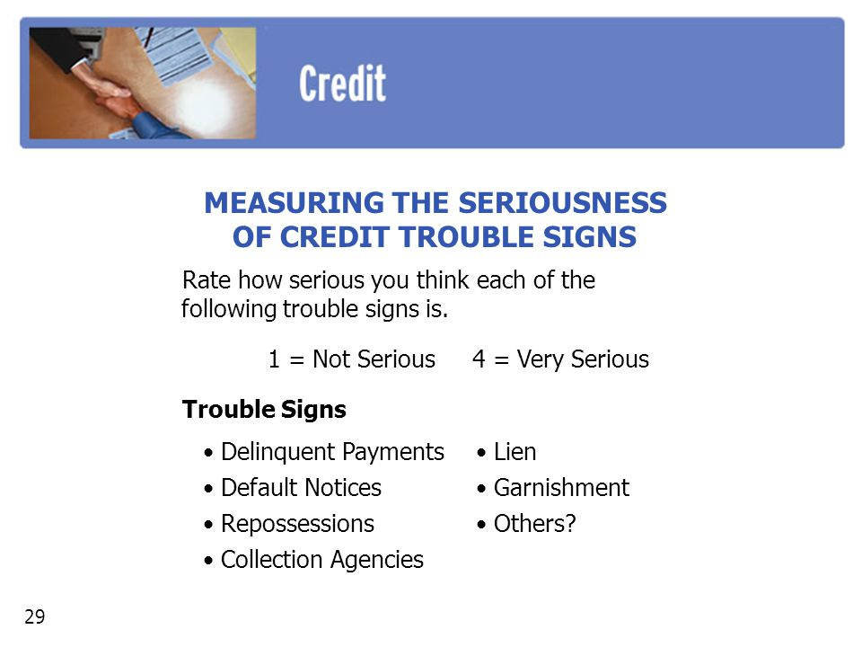 MEASURING THE SERIOUSNESS OF CREDIT TROUBLE SIGNS