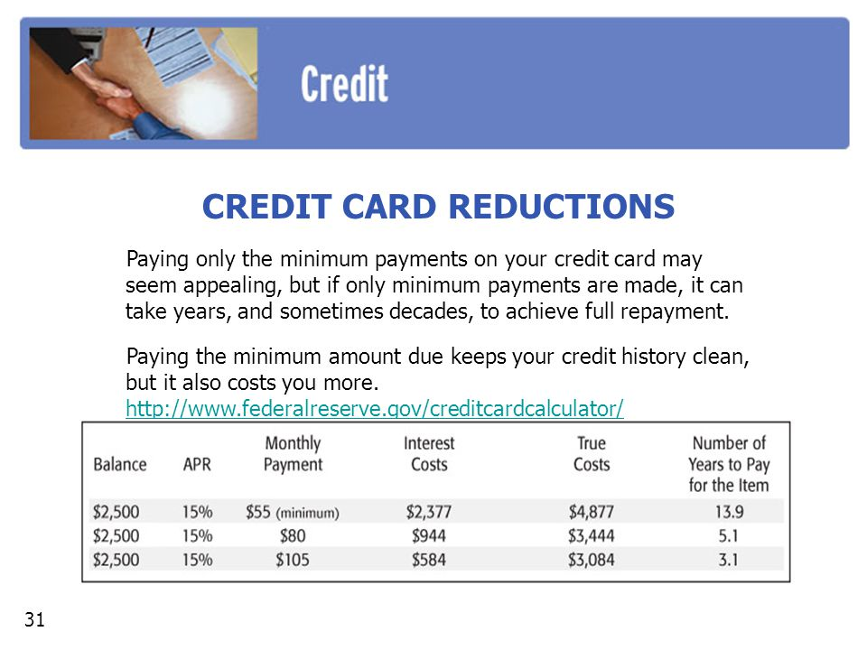 CREDIT CARD REDUCTIONS