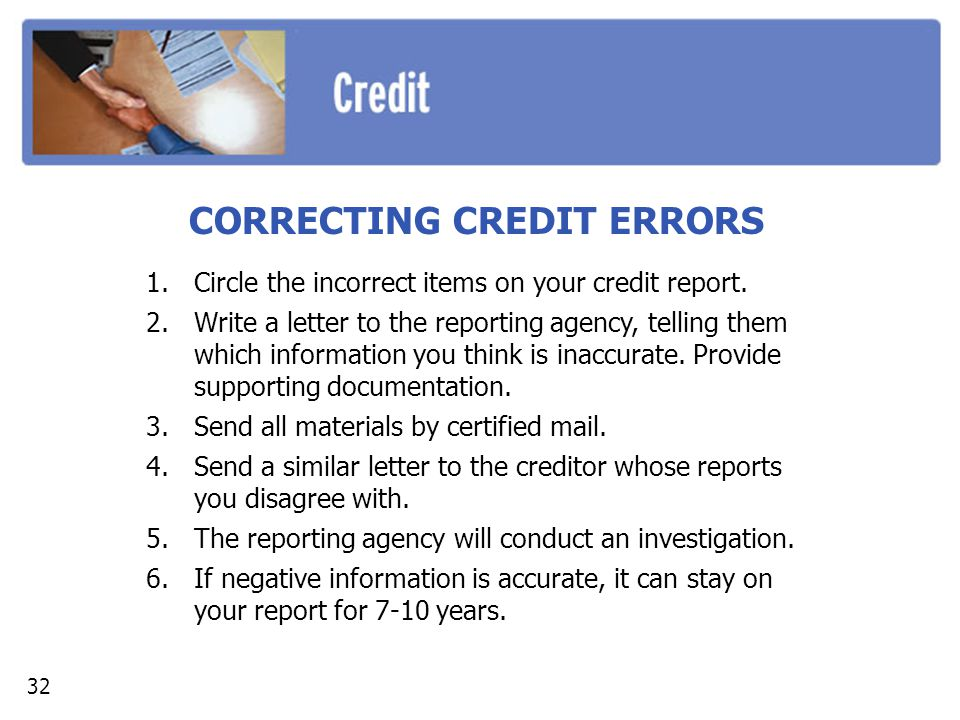 CORRECTING CREDIT ERRORS