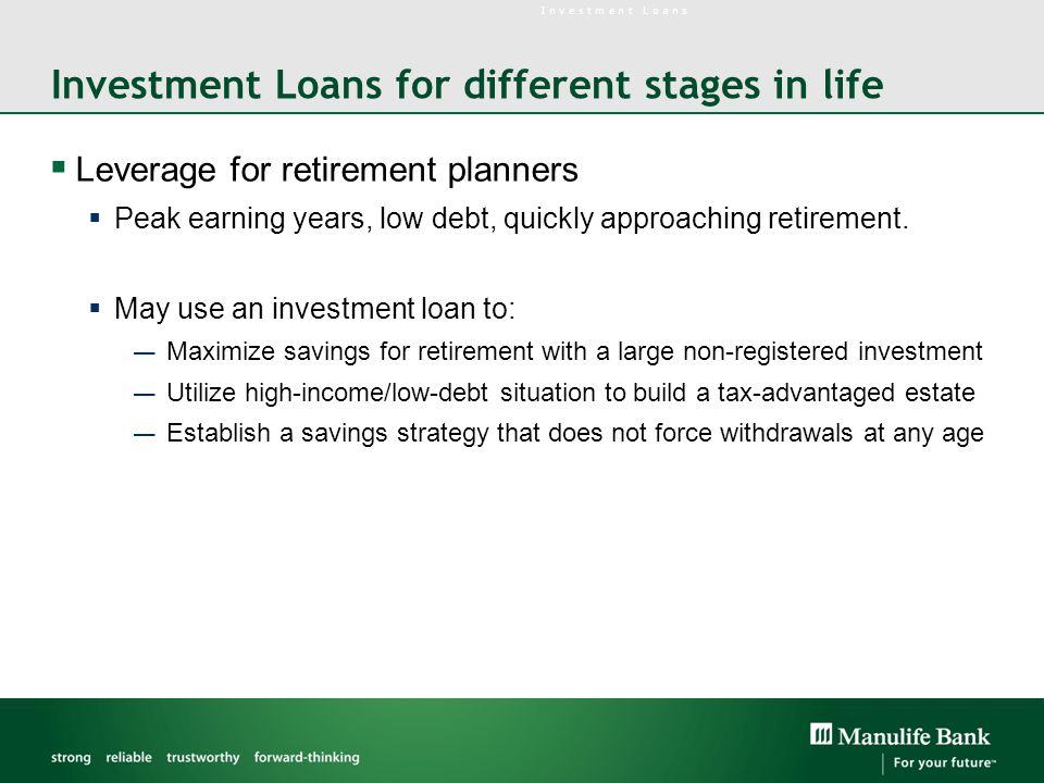 Investment Loans for different stages in life