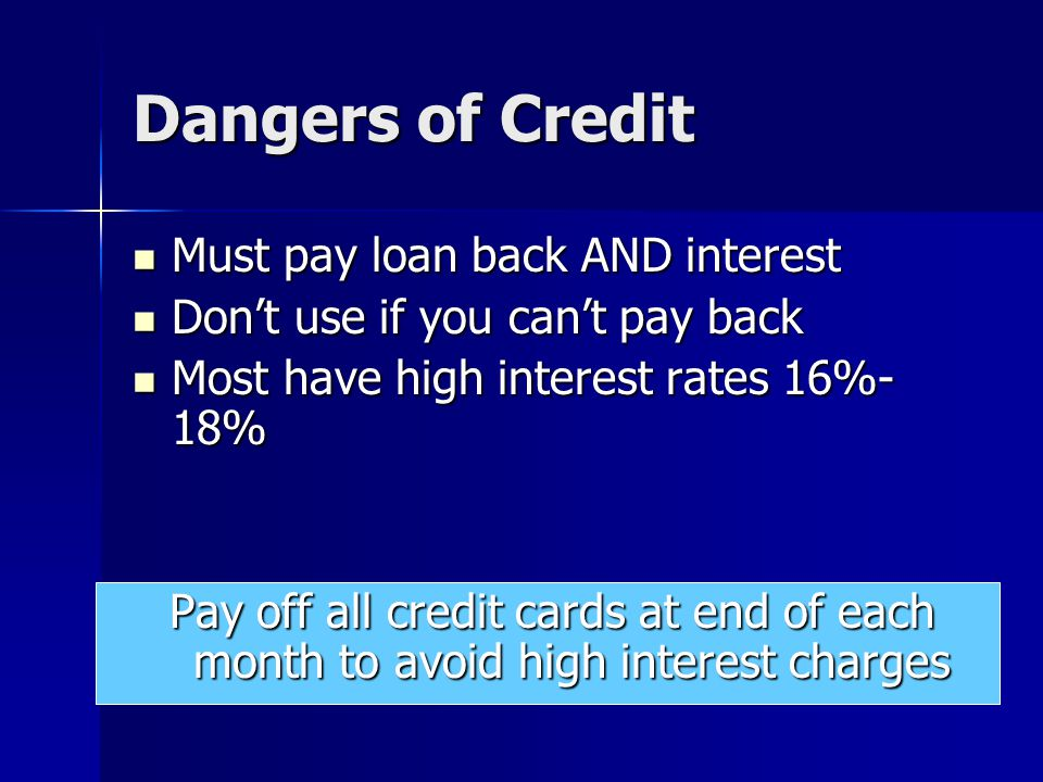 Dangers of Credit Must pay loan back AND interest