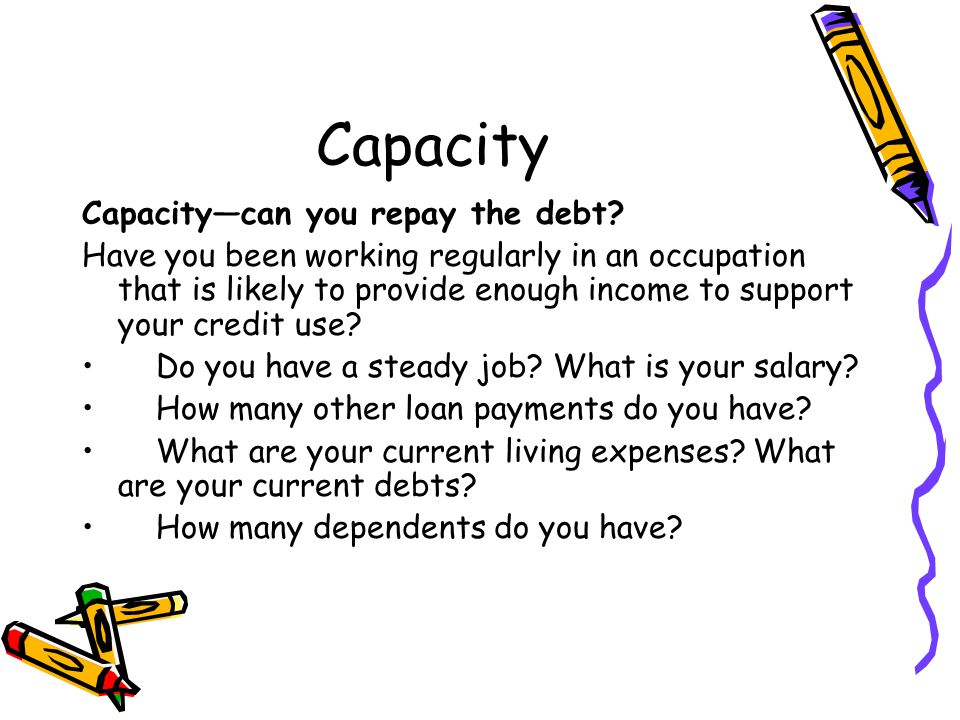 Capacity Capacity—can you repay the debt