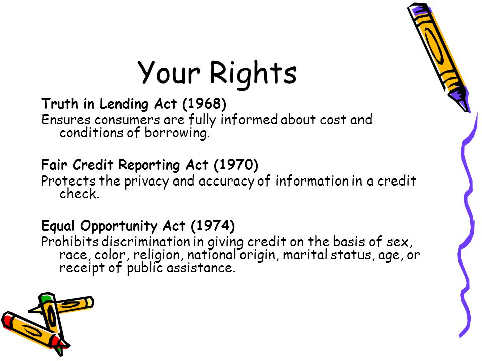 Your Rights Truth in Lending Act (1968)