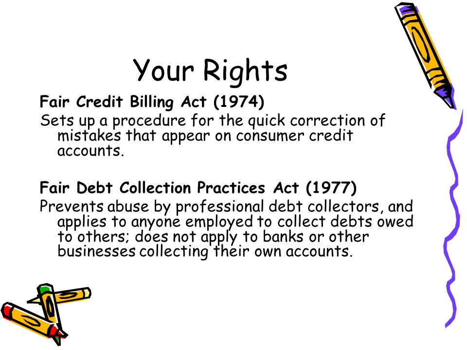 Your Rights Fair Credit Billing Act (1974)