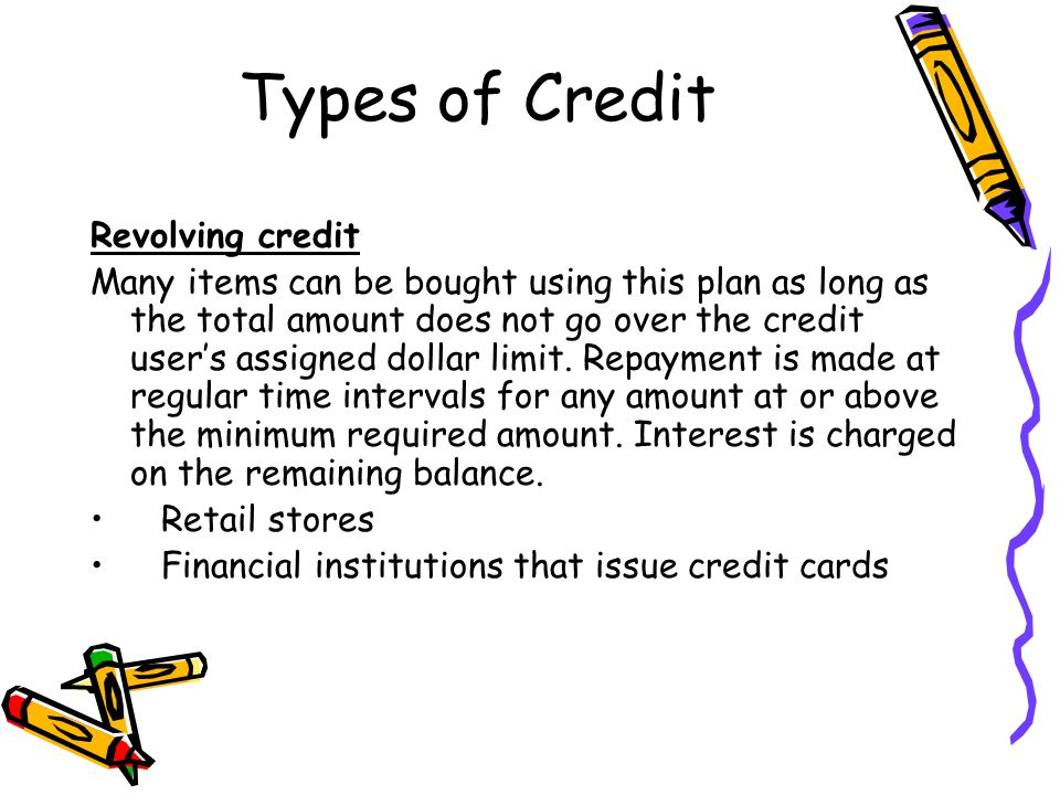 Types of Credit Revolving credit