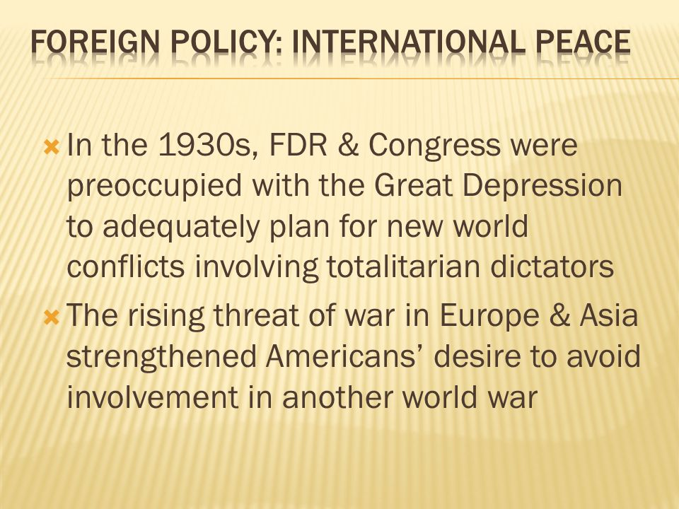 Foreign Policy: International Peace