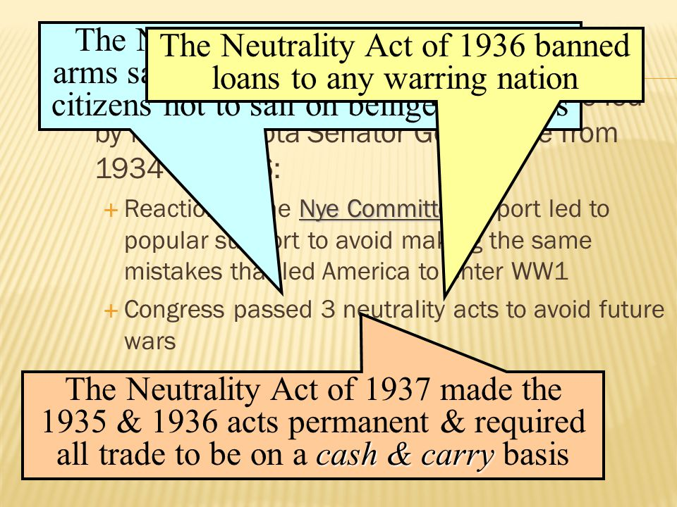 The Neutrality Act of 1936 banned loans to any warring nation