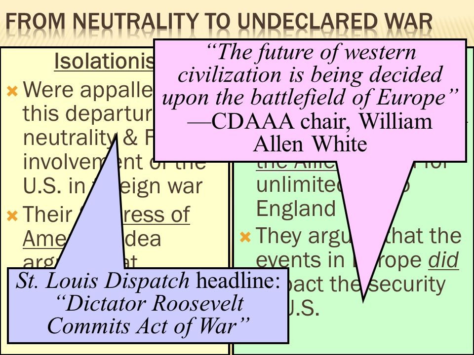 From Neutrality to Undeclared War