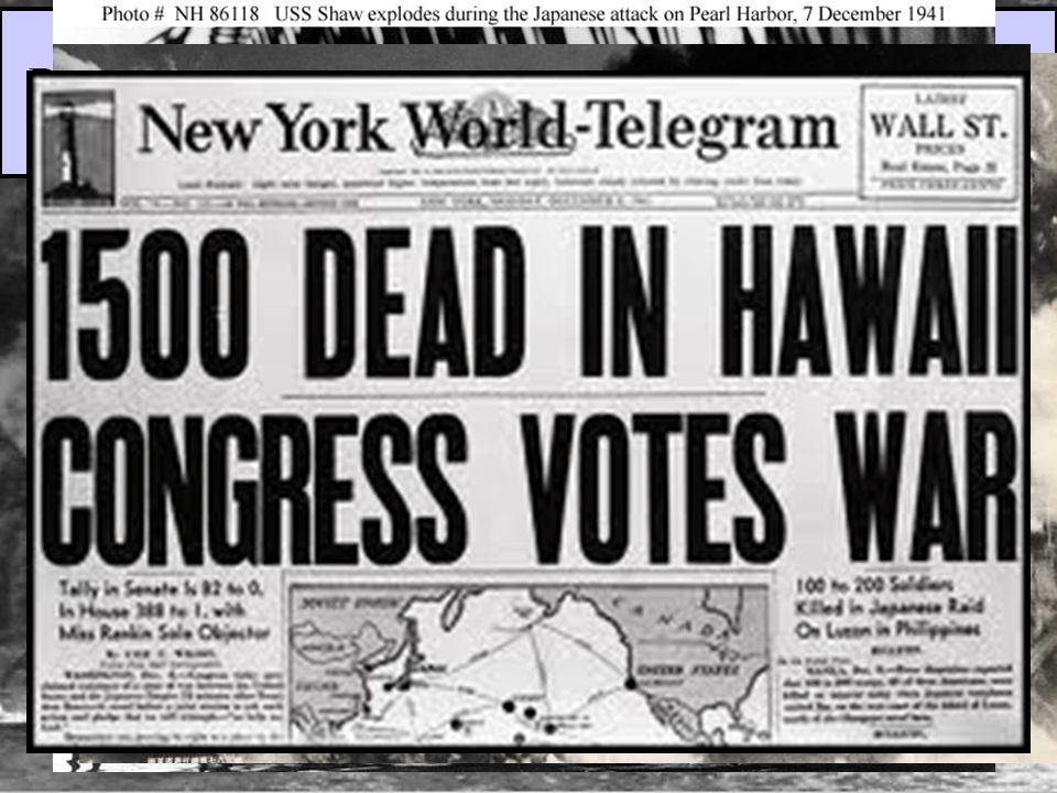 On Dec 7, 1941, the U.S. naval fleet in the Pacific was crippled by the attack; 8 battleships were sunk & 2,400 Americans were killed