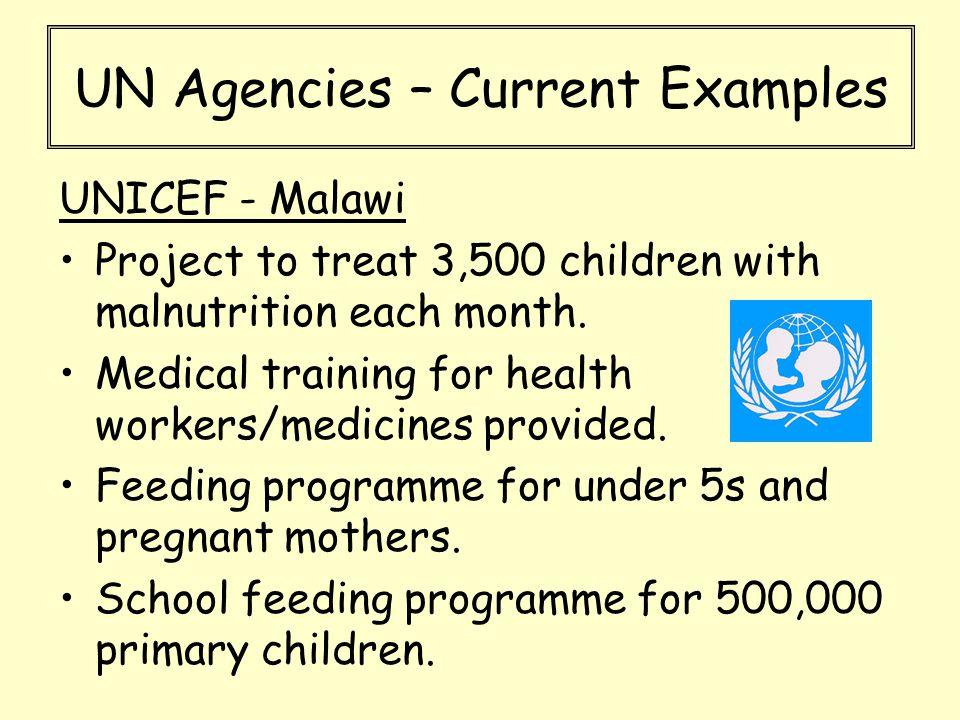 UN Agencies – Current Examples