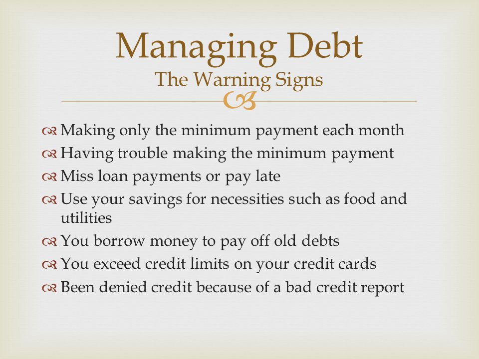 Managing Debt The Warning Signs