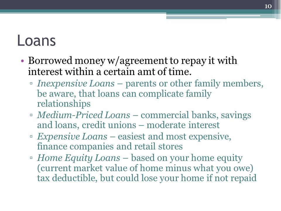 Loans Borrowed money w/agreement to repay it with interest within a certain amt of time.