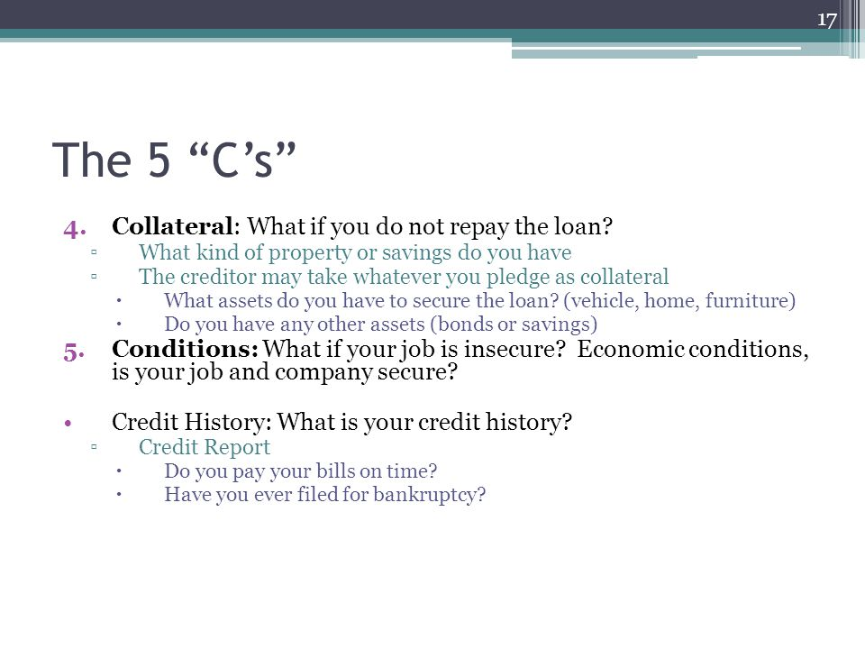 The 5 C's Collateral: What if you do not repay the loan