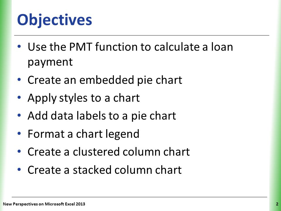 Objectives Use the PMT function to calculate a loan payment