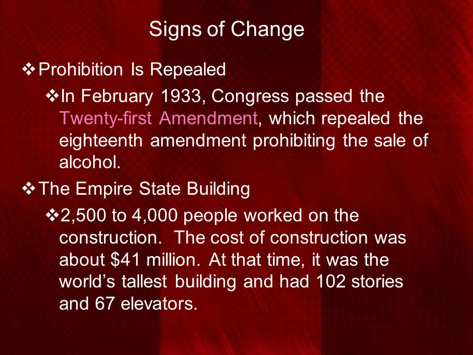 Signs of Change Prohibition Is Repealed