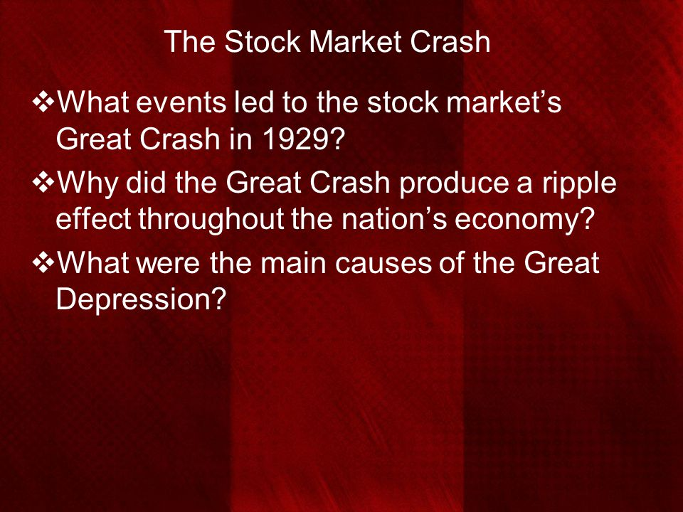 The Stock Market Crash What events led to the stock market's Great Crash in 1929