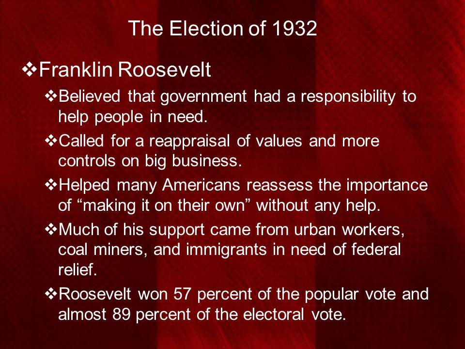 The Election of 1932 Franklin Roosevelt