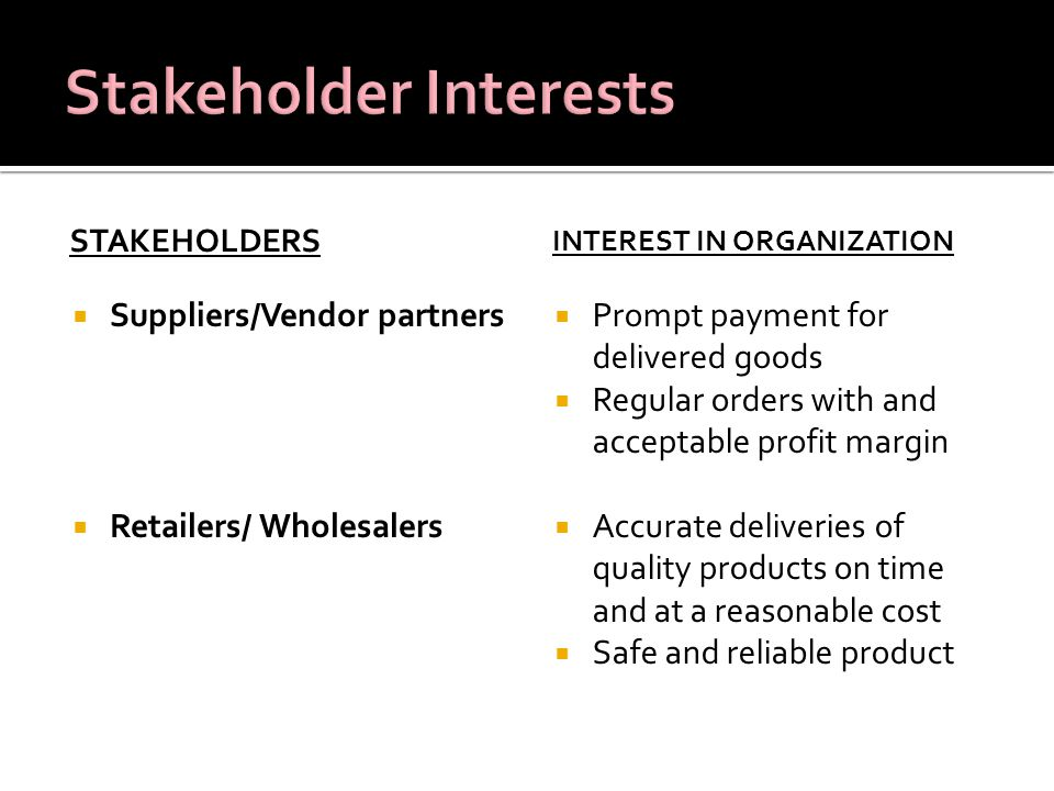 Stakeholder Interests