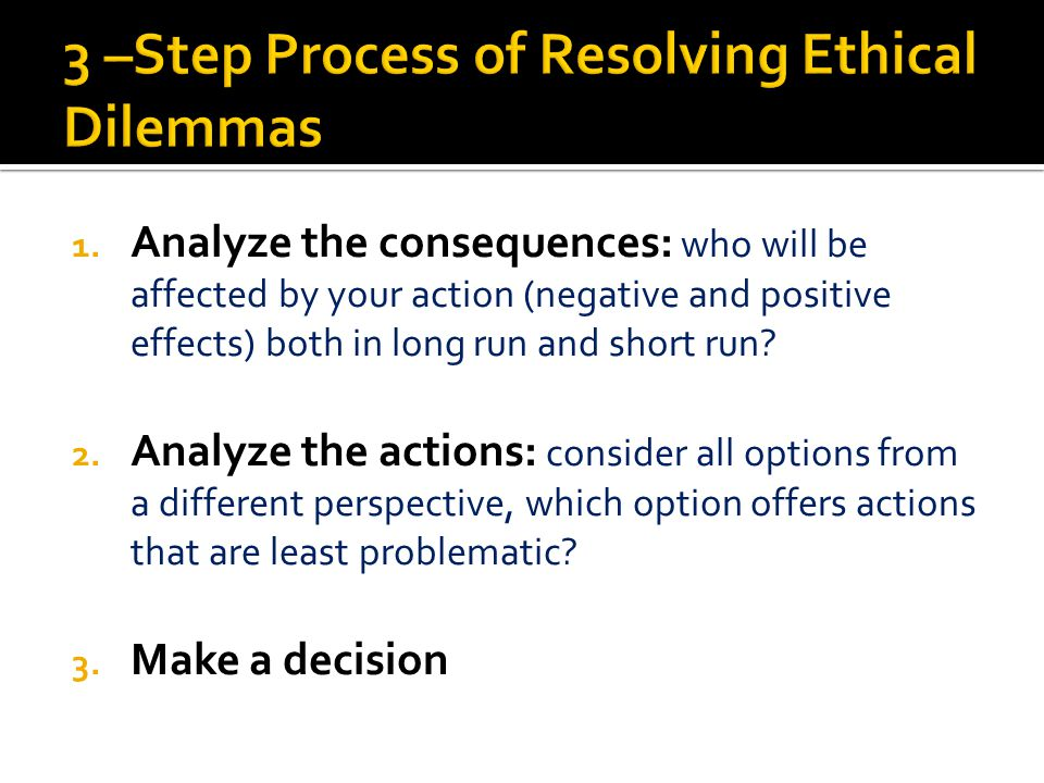 3 –Step Process of Resolving Ethical Dilemmas