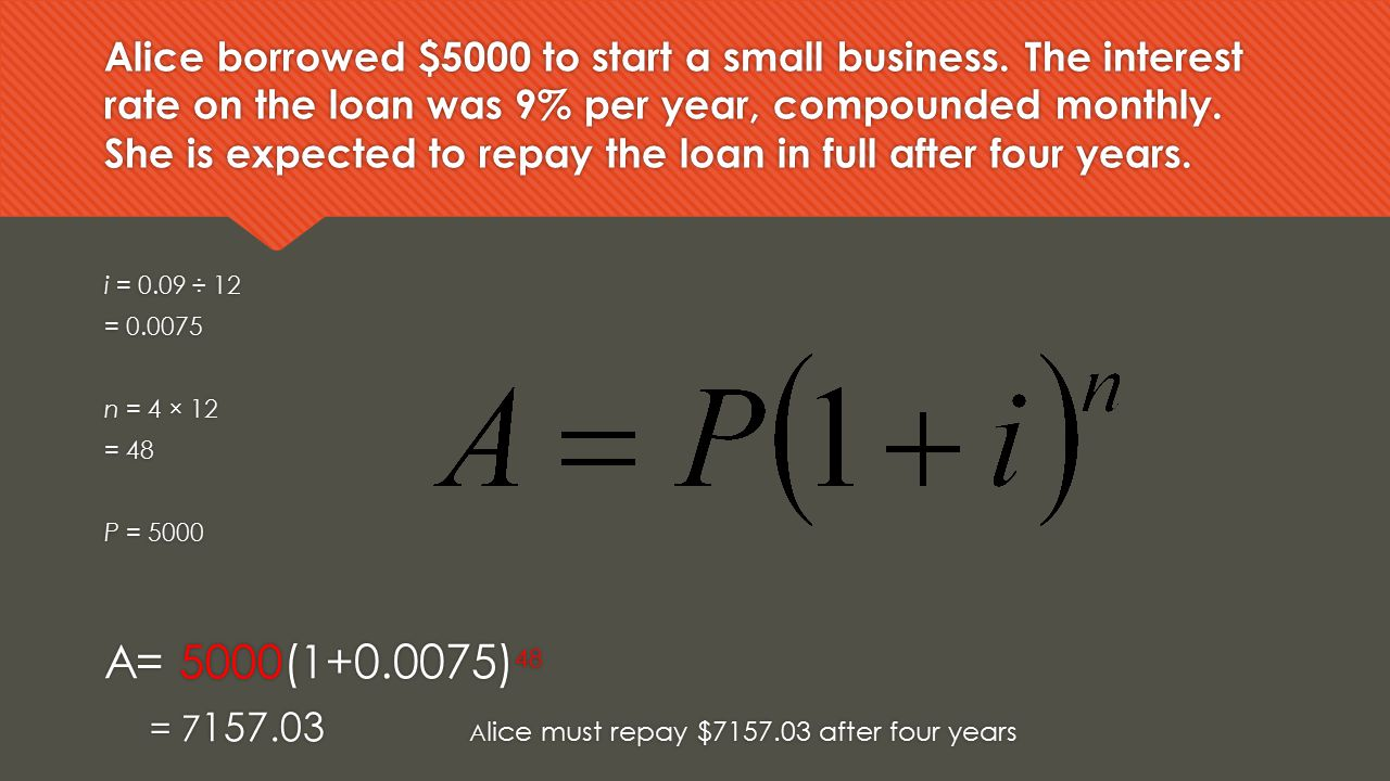 Alice borrowed $5000 to start a small business
