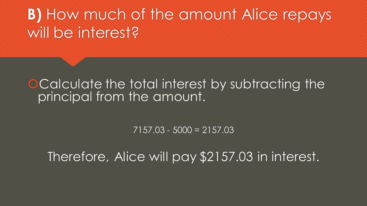 B) How much of the amount Alice repays will be interest