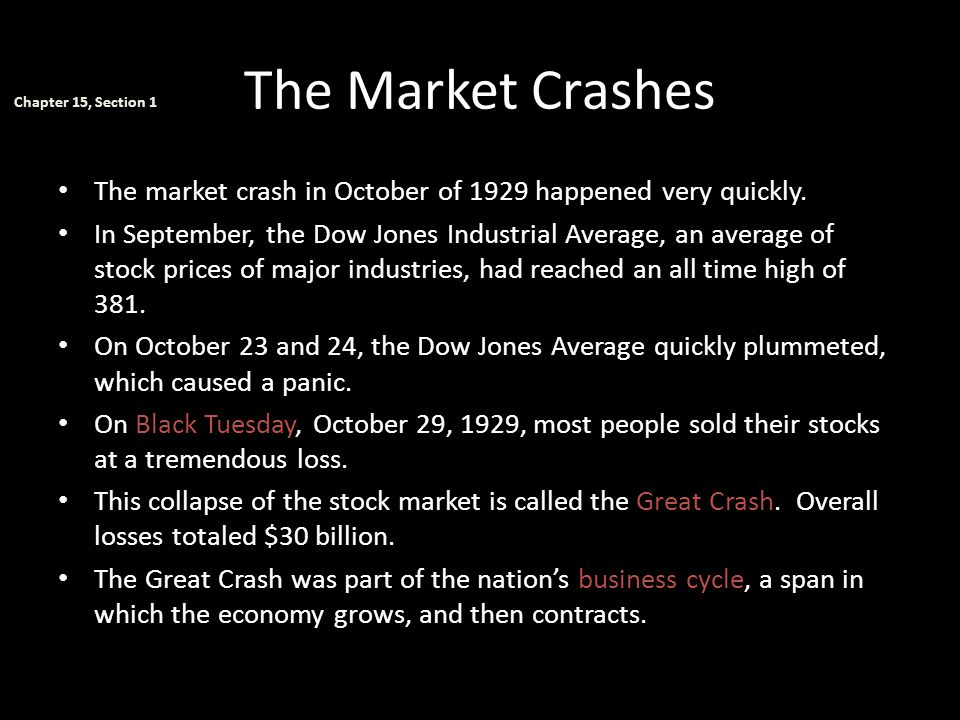 The Market Crashes Chapter 15, Section 1. The market crash in October of 1929 happened very quickly.