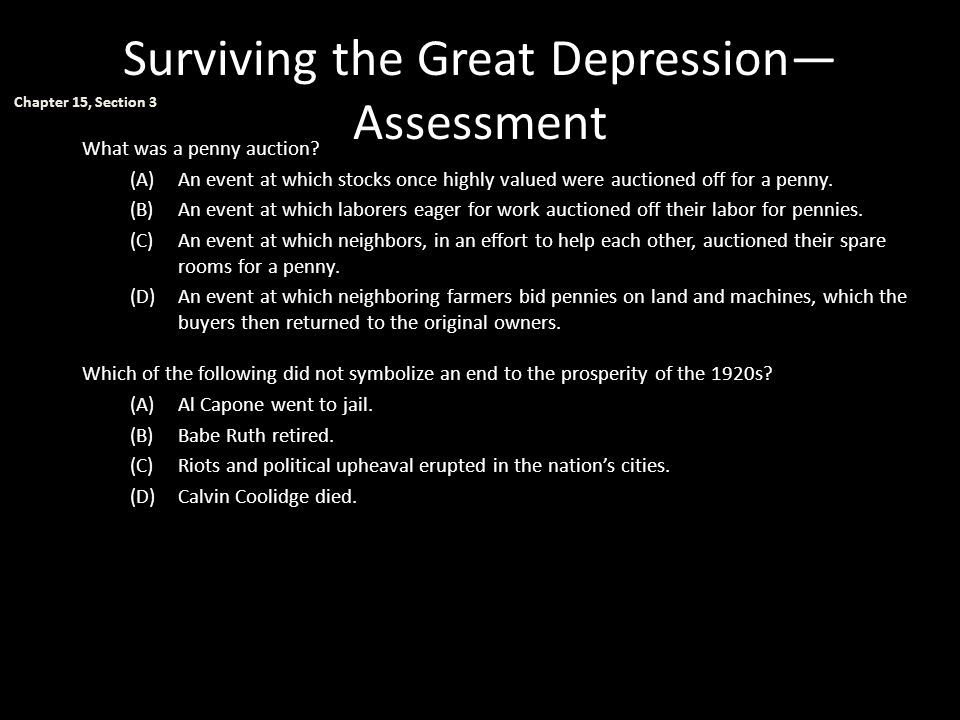 Surviving the Great Depression—Assessment