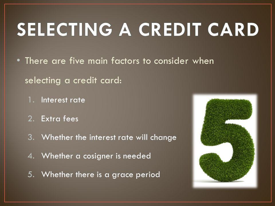 SELECTING A CREDIT CARD