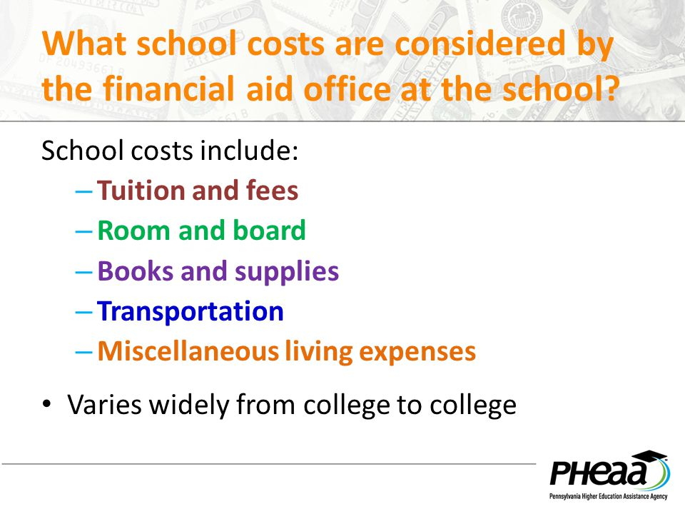 What school costs are considered by the financial aid office at the school