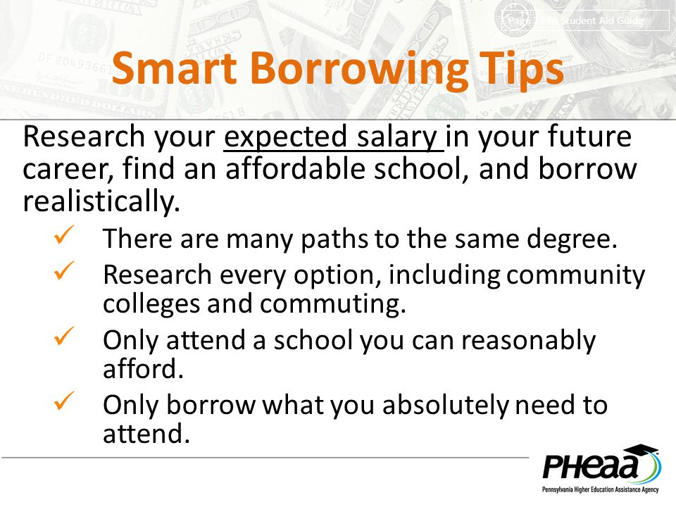 Smart Borrowing Tips Page 28 PA Student Aid Guide.