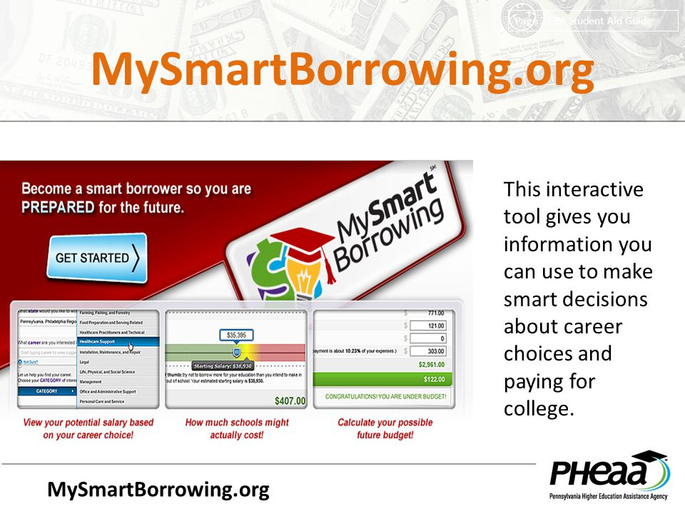 MySmartBorrowing.org Page 28 PA Student Aid Guide.