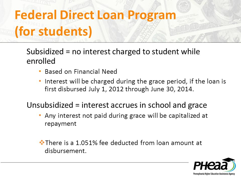 Federal Direct Loan Program (for students)