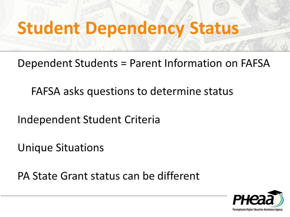 Student Dependency Status