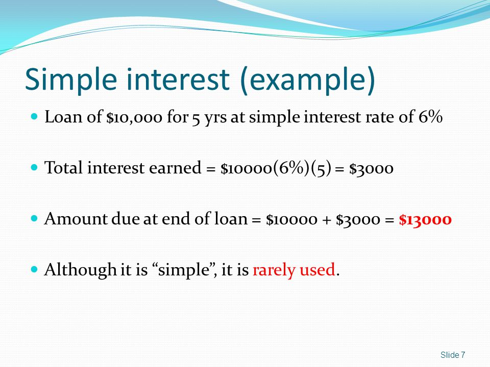 Simple interest (example)