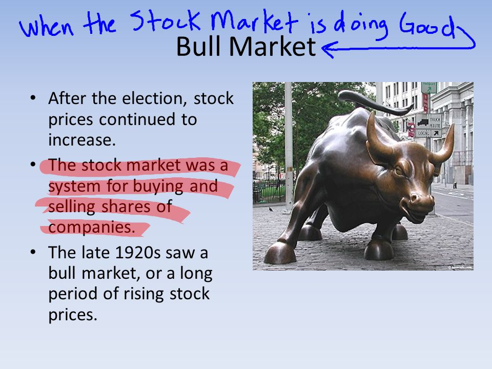 Bull Market After the election, stock prices continued to increase.
