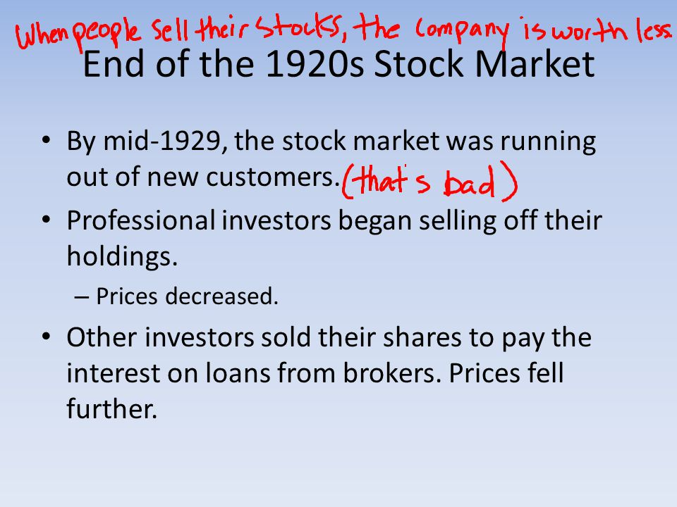 End of the 1920s Stock Market