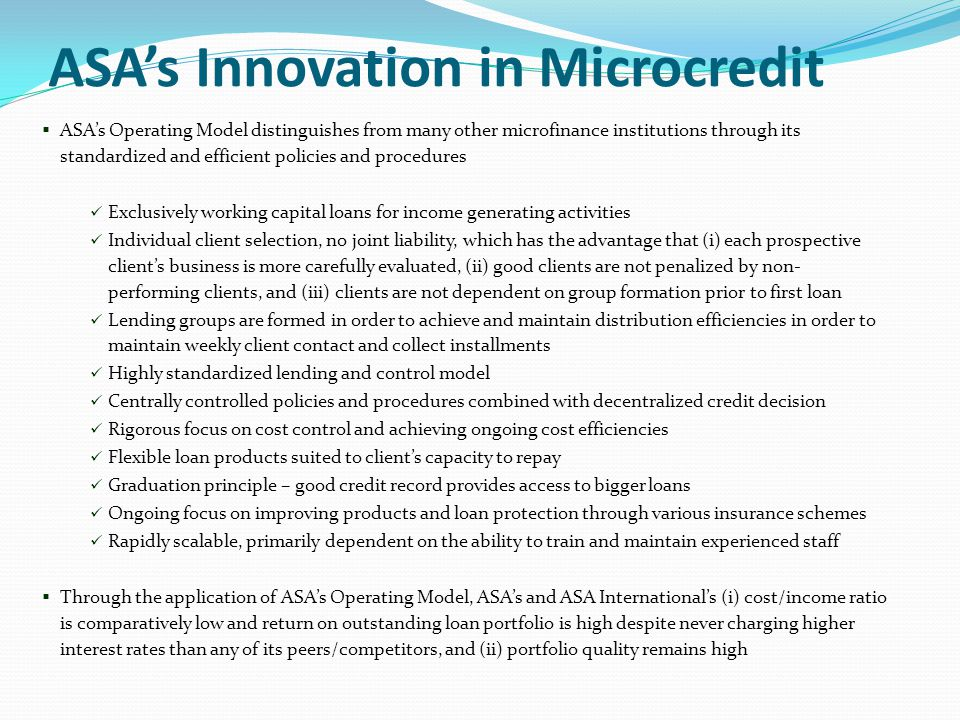 ASA's Innovation in Microcredit