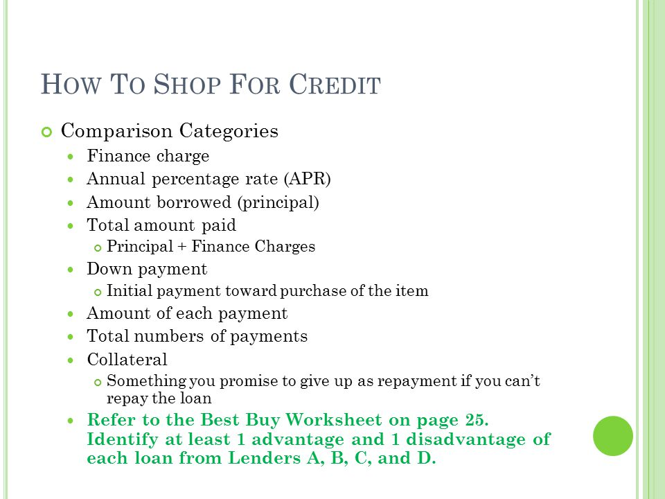 How To Shop For Credit Comparison Categories Finance charge