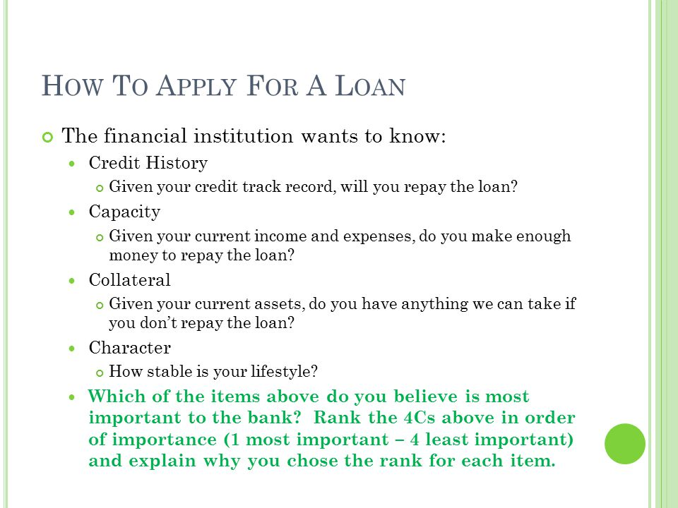 How To Apply For A Loan The financial institution wants to know: