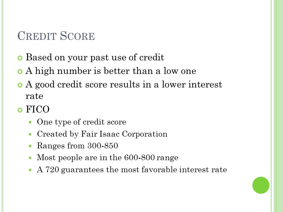 Credit Score Based on your past use of credit