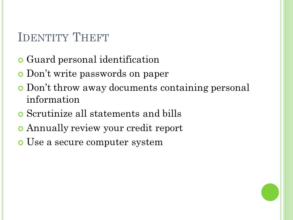 Identity Theft Guard personal identification