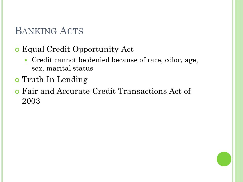 Banking Acts Equal Credit Opportunity Act Truth In Lending