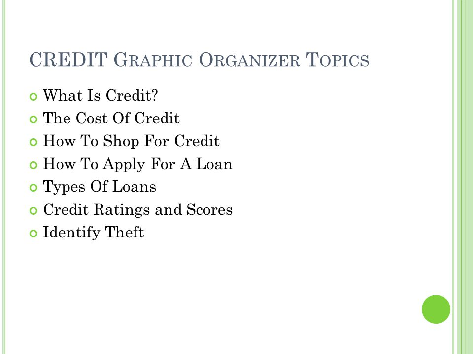 CREDIT Graphic Organizer Topics