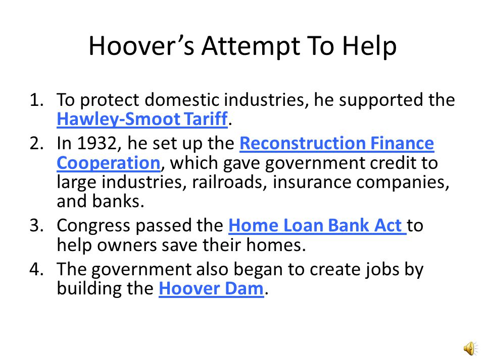 Hoover's Attempt To Help