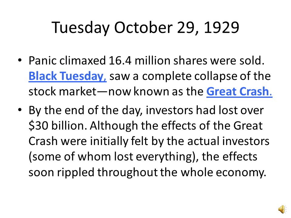 Tuesday October 29, 1929