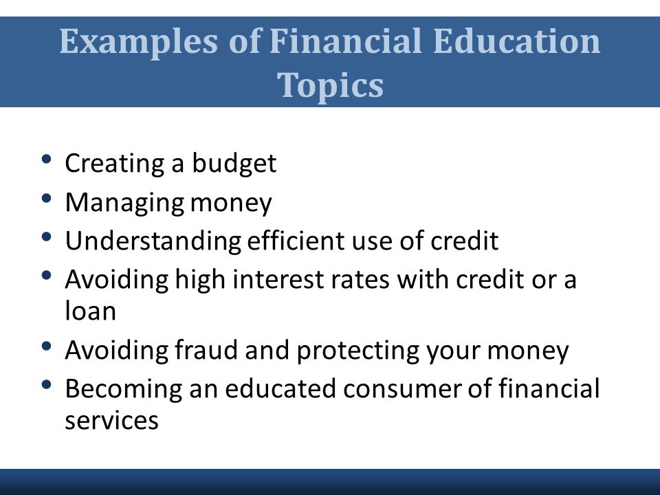 Examples of Financial Education Topics