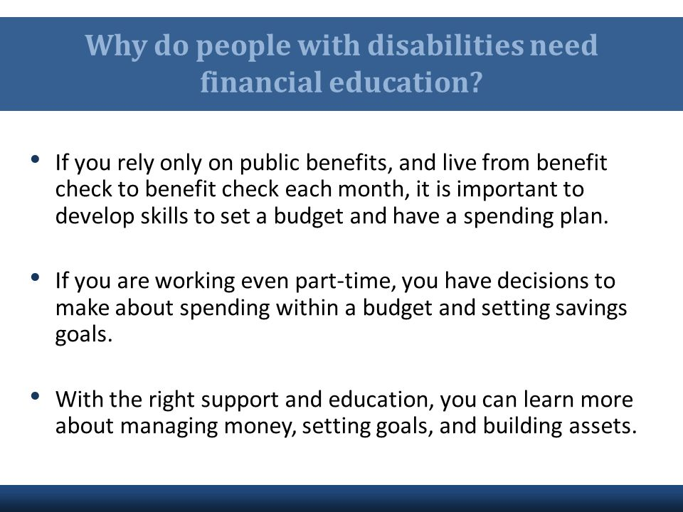 Why do people with disabilities need financial education