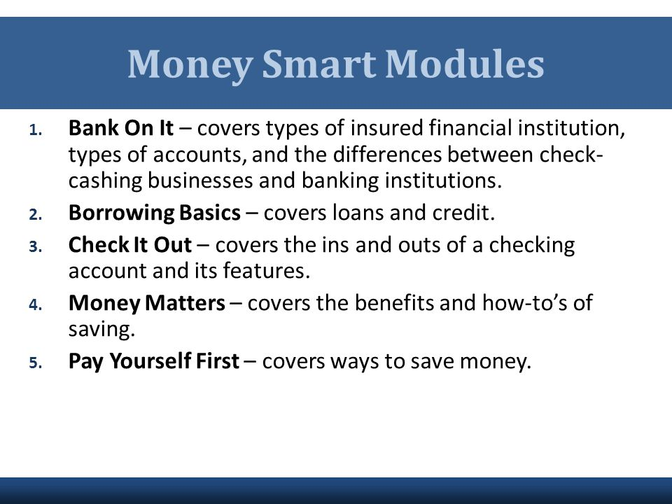 Money Smart Modules