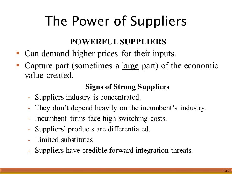 The Power of Suppliers Can demand higher prices for their inputs.