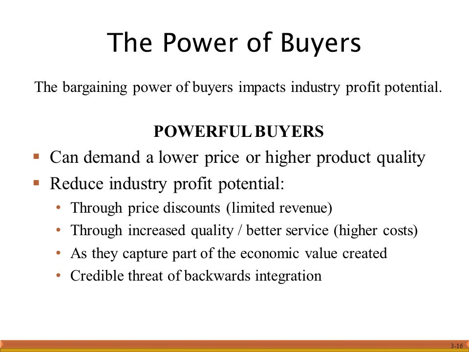 The bargaining power of buyers impacts industry profit potential.